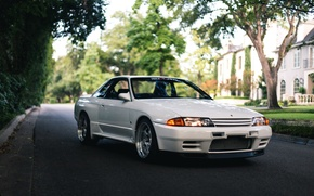 Picture nissan, turbo, white, skyline, japan, jdm, tuning, gtr, front, face, r32, nismo, datsun