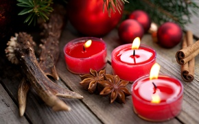 Picture branches, balls, candles, New Year, red, cinnamon, holidays, Christmas, star anise, Anis