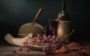 Picture wine, grapes, still life, melon