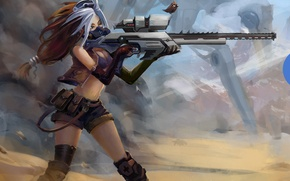 Picture sand, girl, weapons, fiction, robot, dust, art, bird, sight, sci-fi