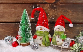 Wallpaper decoration, toys, New Year, Christmas, snowmen, Christmas, vintage, New Year, decoration, Happy, Merry