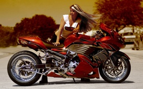 Wallpaper sportbike, girl, tuning