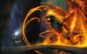Picture bridge, fire, magic, monster, the Lord of the rings, art, MAG, cave, Gandalf, the lord …