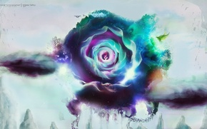 Picture flower, lights, creative, tree, bird, petals, emblem, desktopography, DOE