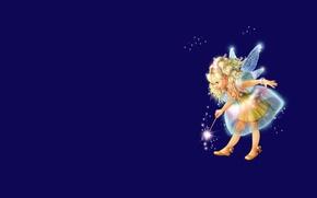 Picture background, magic, wings, fairy, art, girl, magic wand, children's