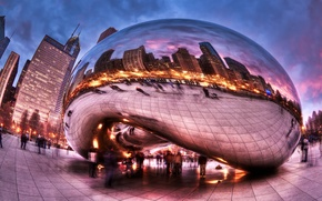 Picture clouds, the city, people, HDR, excerpt, Chicago, Millennium Park, fisheye