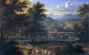 Picture trees, bridge, people, castle, picture, Landscape with the Road to the River, Adrian Frans Boudewyns