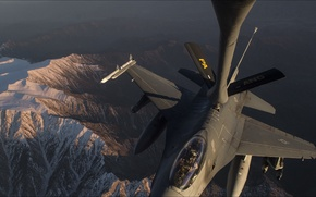 Picture sky, F-16, aviation, Weapon, arm, slow