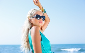 Picture summer, girl, face, pose, hair, glasses, blonde, decoration