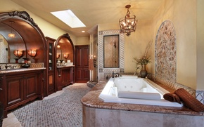 Picture photo, Design, Bathroom, Chandelier, Interior