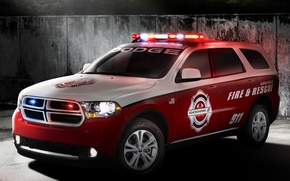 Picture red, 911, car, 2012, Dodge, dodge, fire, Durango, Durango, rescue, flashers, fire & rescue