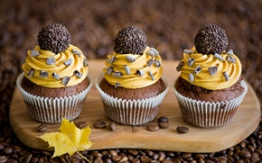 Picture autumn, yellow, sheet, coffee, chocolate, grain, candy, cream, dessert, cakes, sweet, cupcakes, Anna Verdina