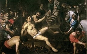 Picture picture, religion, genre, mythology, The Martyrdom Of St. Lawrence, Valentin de Boulogne