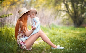 Picture summer, nature, woman, baby, child, motherhood