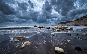 Picture wave, the sky, water, clouds, landscape, nature, stones, the ocean, rocks, shore, waves, sky, ocean, ...