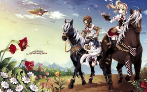 Picture horse, the game, anime, art, girl, guy, two, Surreal Adventure - Minitokyo