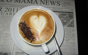Wallpaper heart, coffee, mug, newspaper