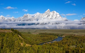 Picture forest, the sky, clouds, snow, mountains, river