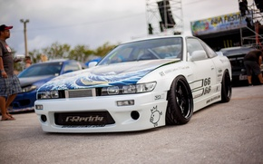Picture nissan, turbo, white, japan, jdm, tuning, silvia, front, s13, face, nismo, datsun, low.stance