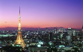 Picture sunset, Japan, backlight, Tokyo