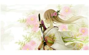 Picture girl, flowers, katana, kimono, white hair, sheath