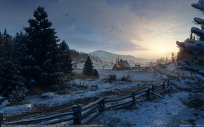 Wallpaper snow, mountains, winter, olivier vernay-kim, birds, the fence, house, forest