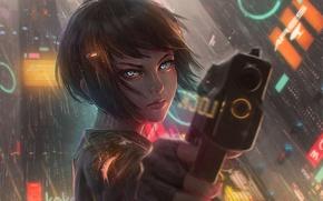 Wallpaper girl, the city, gun, weapons, rain, home, anime, art, guweiz