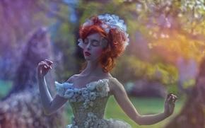 Picture girl, fantasy, dress, art, Fairytale, Agnieszka Lorek, Ophidia