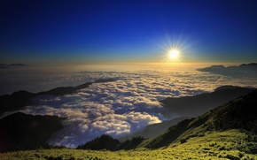 Picture the sky, the sun, clouds, rays, sunset, mountains