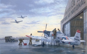 Picture war, art, painting, aviation, ww2, P 51 Mustang