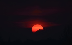 Picture clouds, darkness, the moon, silhouette, the moon in blood