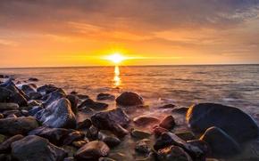 Picture sea, beach, the sun, sunrise, stones, morning