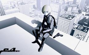 Picture girl, the city, anime, art, pistol
