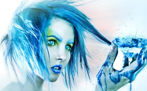 Picture girl, paint, blue, crystal