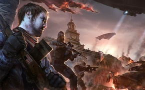 Picture the city, war, art, destruction, the airship, soldiers, Homefront: The Revolution