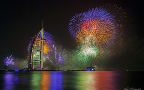Picture night, lights, new year, Dubai, fireworks, the hotel, UAE, Burj Al Arab, Burj al Arab