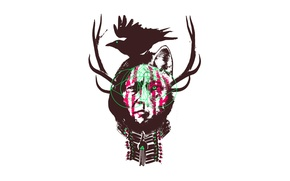 Picture face, style, wolf, horns, crow, ear, Indian, paint