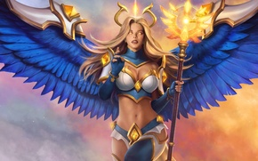 Wallpaper angel, staff, warrior, wings, Juggernaut Wars, the game, Angelina Mereside
