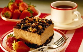 Picture coffee, strawberry, plate, mug, Cup, plug, cake with nuts