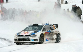 Picture Winter, Auto, White, Snow, Sport, Volkswagen, Machine, Red Bull, WRC, Rally, Rally, Polo, Sebastien Ogier, …