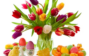Picture flowers, eggs, spring, colorful, Easter, tulips, flowers, tulips, spring, painted, eggs, easter