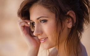 Picture eyes, look, girl, face, smile, nose, lips, earrings, brown hair, presley dawson