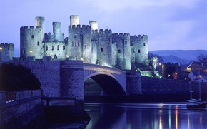 Picture Water, The evening, Lights, Bridge, Castle