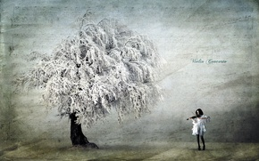 Picture girl, style, background, tree, violin