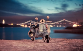 Picture macro, lights, model, toy, moped, shooting, promenade, toy, photo, photographer, bokeh, miniature, scooter, model, Vespa, …