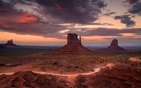 Picture desert, the evening, valley, AZ, USA, state, Monuments