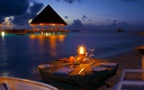 Picture beach, the ocean, romance, the evening, beach, ocean, sunset, view, romantic, dinner, dinner