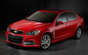 Picture red, Chevrolet, black background, the front
