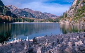 Picture autumn, mountains, Italy, lake Braies