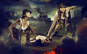 Picture FIRE, WEAPONS, WAR, TANKS, The SITUATION, EXPLOSIONS, war FY, WOUNDED, JAPAN, Asian girls